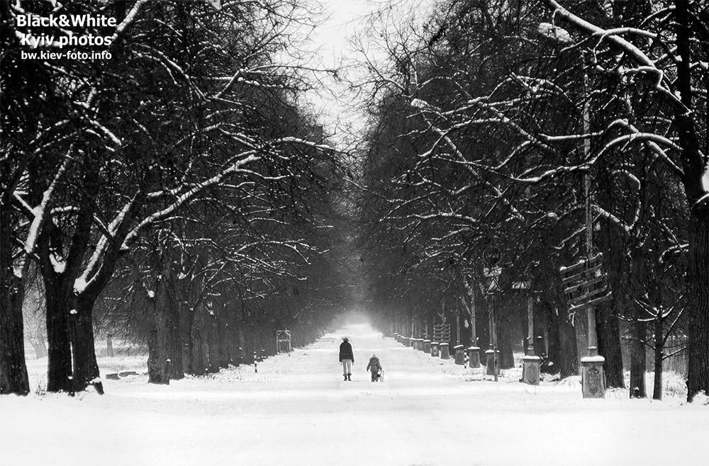 Мама с дочкой в зимнем парке